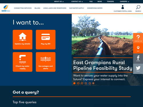 GWMWater - a Joomla site showcased by Webplace